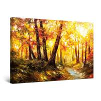 """Startonight Canvas Wall Art Abstract Yellow Light in Forest Painting Framed 32"""" x 48"""""""