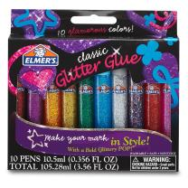 Elmer's 3D Washable Glitter Glue Pens, Classic Rainbow, Pack of 10 Pens - Great For Making Slime