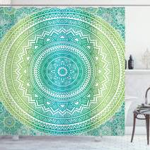 """Ambesonne Teal and Lime Shower Curtain, Ombre Mandala Pattern with Flower and Petals Hippie Style Art, Cloth Fabric Bathroom Decor Set with Hooks, 75"""" Long, Teal Lime"""