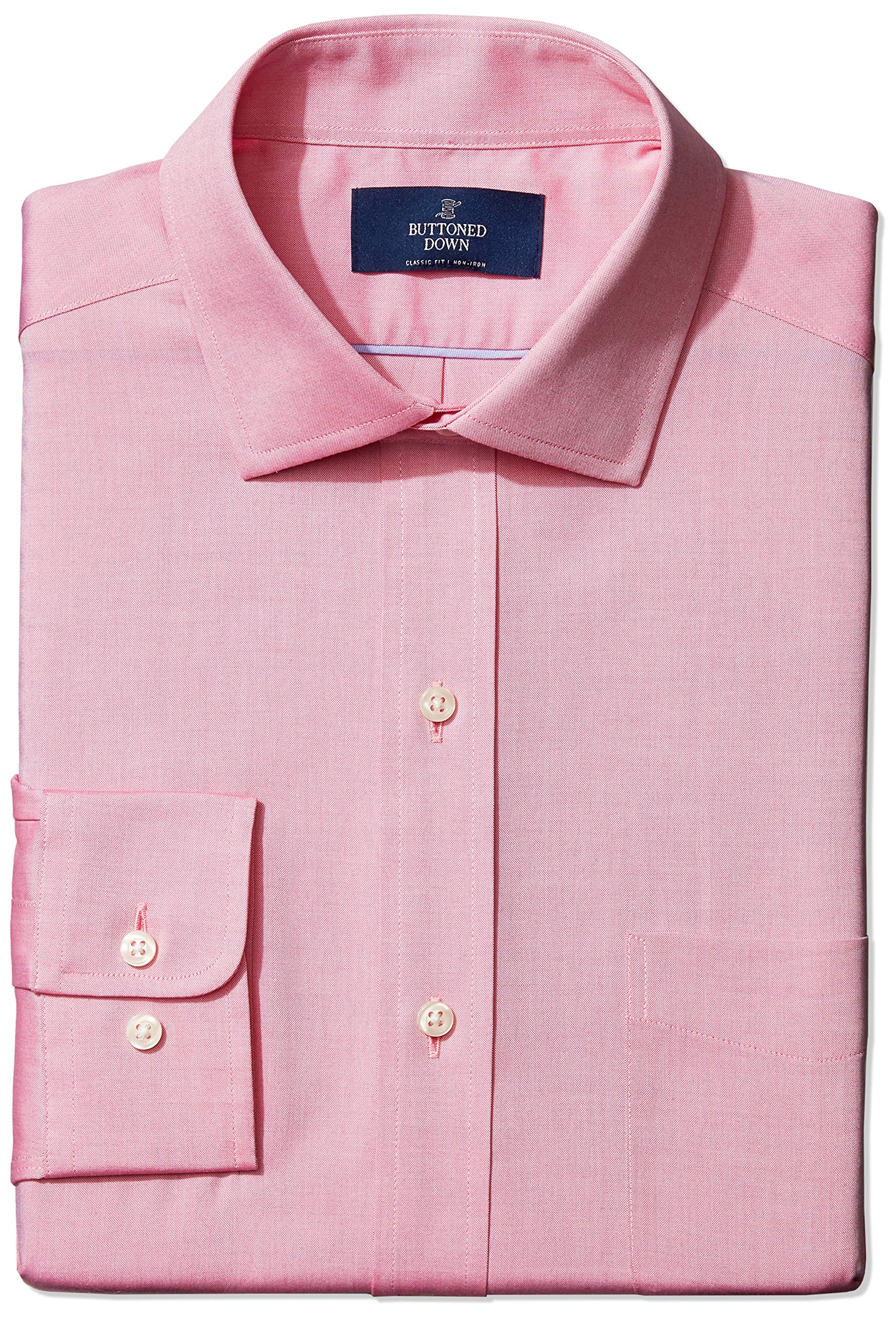 Amazon Brand - Buttoned Down Men's Classic-Fit Spread Collar Solid Non-Iron Dress Shirt