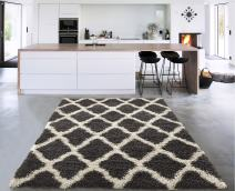 "Cozy Shag Collection Charcoal Grey and Cream Moroccan Trellis Design Shag Rug (3'3""X4'7"") Contemporary Living and Bedroom Soft Shaggy Area Rug"
