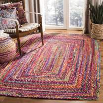 Safavieh Braided Collection BRD210A Hand-woven Bohemian Cotton Area Rug, 2' x 3', Red/Multi
