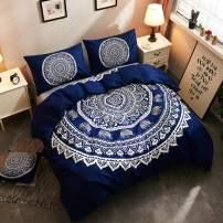 LAMEJOR Duvet Cover Set Queen Size Bohemian Style Mandala Elephant Pattern 4-Piece Hotel Luxury Soft Bedding Set Comforter Cover(1 Duvet Cover+2 Pillowcases+1 Cushion Cover) Navy Blue