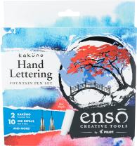 PILOT Enso Kakuno Red Maple Hand Lettering Calligraphy Set with CNT40 Converter, 2 Nib Sizes (Fine .44mm, Medium .58mm) Includes 5 Red & 5 Blue Ink Refills (KFPG-002-KTAZ)