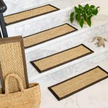 """Natural Area Rugs Sage Half Panama DIY Pet Friendly Handmade Segrass Carpet Stair Treads/Rugs Safety Slip Resistant for Kids, Elders, and Dogs. 9"""" x 29"""" (4), Espresso Border"""