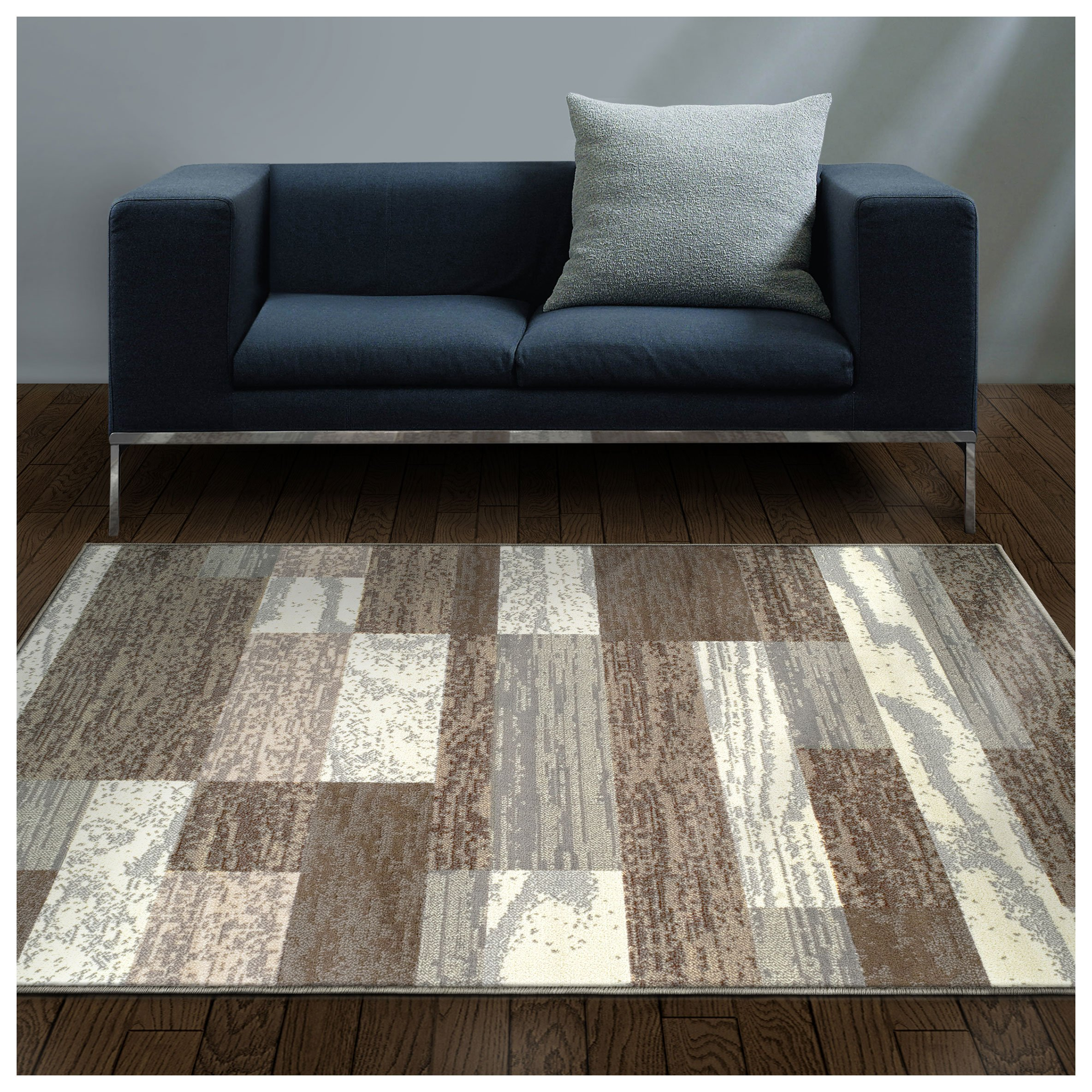Superior Modern Rockwood Collection Area Rug, 8mm Pile Height with Jute Backing, Textured Geometric Brick Design, Anti-Static, Water-Repellent Rugs - Light Blue & Ivory, 4' x 6' Rug