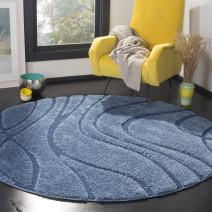 Safavieh Florida Shag Collection SG471-6065 Area Rug, 4' Round, Light Blue/Blue