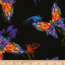 Timeless Treasures Black Digital Awaken Watercolor Butterfly Fabric by The Yard