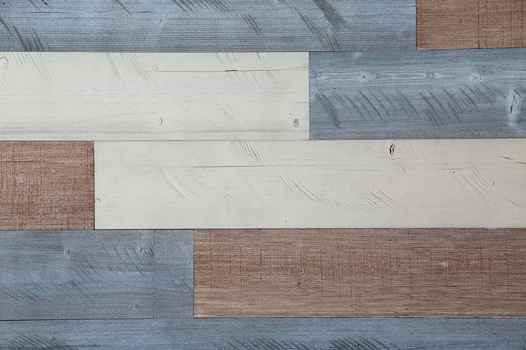 Woody Walls Peel and Stick Wood Wall Panels, Three Color Combinations, 19.5 sq. ft. per Box, Sweetened Milk, Warm Sand, Natural Gray