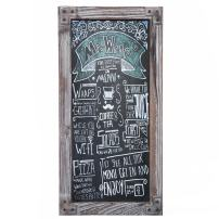 Torched Wood Vertical Frame Chalkboard, Wall Mount Erasable Message Board, MyGift
