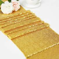 """DOLOPLSequin Table Runners 12"""" X108 Inch Glitter Gold Table Runner Party Supplies Fabric Decorations for Wedding Birthday Baby Shower"""