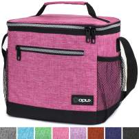 OPUX Insulated Large Lunch Bag, Women | Meal Prep Lunch Box for Adult, Kids | Soft Leakproof Lunch Pail Cooler Bag with Shoulder Strap for Work, School, Beach | Fits 18 Cans (Heather Pink)