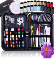 SGM Art Mini Sewing Kit for Travel,120 Pieces - 38 Thread Reels, Pin Cushion, Sewing Supplies in Zippered PU Leather Compact Case Bag, Light Weight, Durable Emergency DIY Sew -Adults, Kids, Beginners