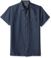 Van Heusen Men's Slim Fit Air Short Sleeve Button Down Poly Rayon Stripe Shirt