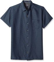 Van Heusen Men's Slim Fit Air Short Sleeve Button Down Poly Rayon Stripe Shirt
