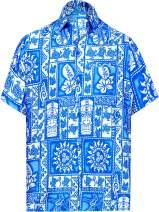 LA LEELA Men's Pool Front Pocket Short Sleeve Hawaiian Shirt