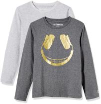 Kid Nation Kids Unisex 2 Packs 100% Cotton Tag-Free Long Sleeve Crewneck T Shirt Top for Boys or Girls 4-12 Years