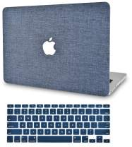 "KECC Laptop Case for MacBook Pro 13"" (2020/2019/2018/2017/2016) w/Keyboard Cover Plastic Hard Shell A2159/A1989/A1706/A1708 Touch Bar 2 in 1 Bundle (Navy Fabric)"