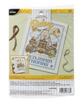 "Bucilla Tee Pee Bears Counted Cross Stitch Kit, 9 3/4"" x 13"", Birth Record"