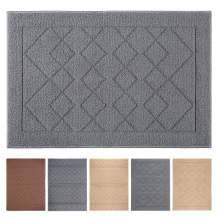 """Indoor Doormat 24""""x 36"""" Absorbent Front Door Mat Rubber Backing Non Slip Door Mats Inside Dirt Trapper Mats Entrance Front Door Rug Shoes Mat Machine Washable Carpet (Grey Large Squares)"""