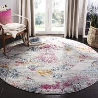 "Safavieh Madison Collection MAD157R Boho Chic Watercolor Medallion Distressed Area Rug, 6'7"" x 6'7"" Round, Light Grey/Fuchsia"