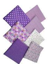"levylisa 19.7"" x 19.7"" 7pcs Purple Floral Dot Stripe Cotton Fabric Fat Quarter Bundle Patchwork Quilting Fabric Sets Sewing Fabric Patchwork Flower Dots DIY Quilting Handmade Craft"