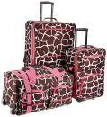 Rockland Vara Softside 3-Piece Upright Luggage Set, Pink Giraffe, (20/22/28)