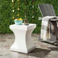 Safavieh Outdoor Collection Curby Modern Concrete Ivory 17.7-inch Accent Table