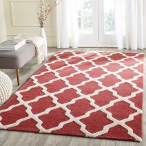 Safavieh Cambridge Collection CAM121L Handmade Moroccan Trellis Wool Area Rug, 8' x 10', Rust/Ivory