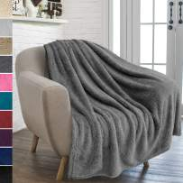 PAVILIA Plush Sherpa Throw Blanket for Couch Sofa | Fluffy Microfiber Fleece Throw | Soft, Fuzzy, Cozy, Shaggy, Lightweight | Solid Grey Blanket | 50 x 60 Inches