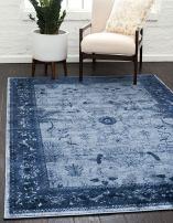Unique Loom La Jolla Collection Tone-on-Tone Traditional Blue Area Rug (9' 0 x 12' 0)