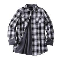 ZENTHACE Women's Thermal Fleece Lined Plaid Button Down Flannel Shirt Jacket