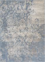 "Well Woven Forte Blue Microfiber High-Low Pile Vintage Abstract Erased Floral 5 x 7 (5'3"" x 7'3"") Area Rug Modern Oriental Carpet Easy Clean"