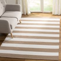 Safavieh Montauk Collection MTK712M Handmade Flatweave Sand and Ivory Cotton Square Area Rug (6' Square)