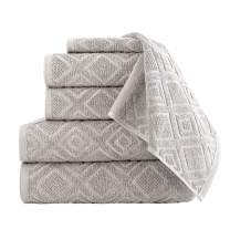 Classic Turkish Towels Luxury 6 Piece Cotton Bath Towel Set - Jacquard Woven Soft Textured Towels Made with 100% Turkish Cotton (Tuffet)