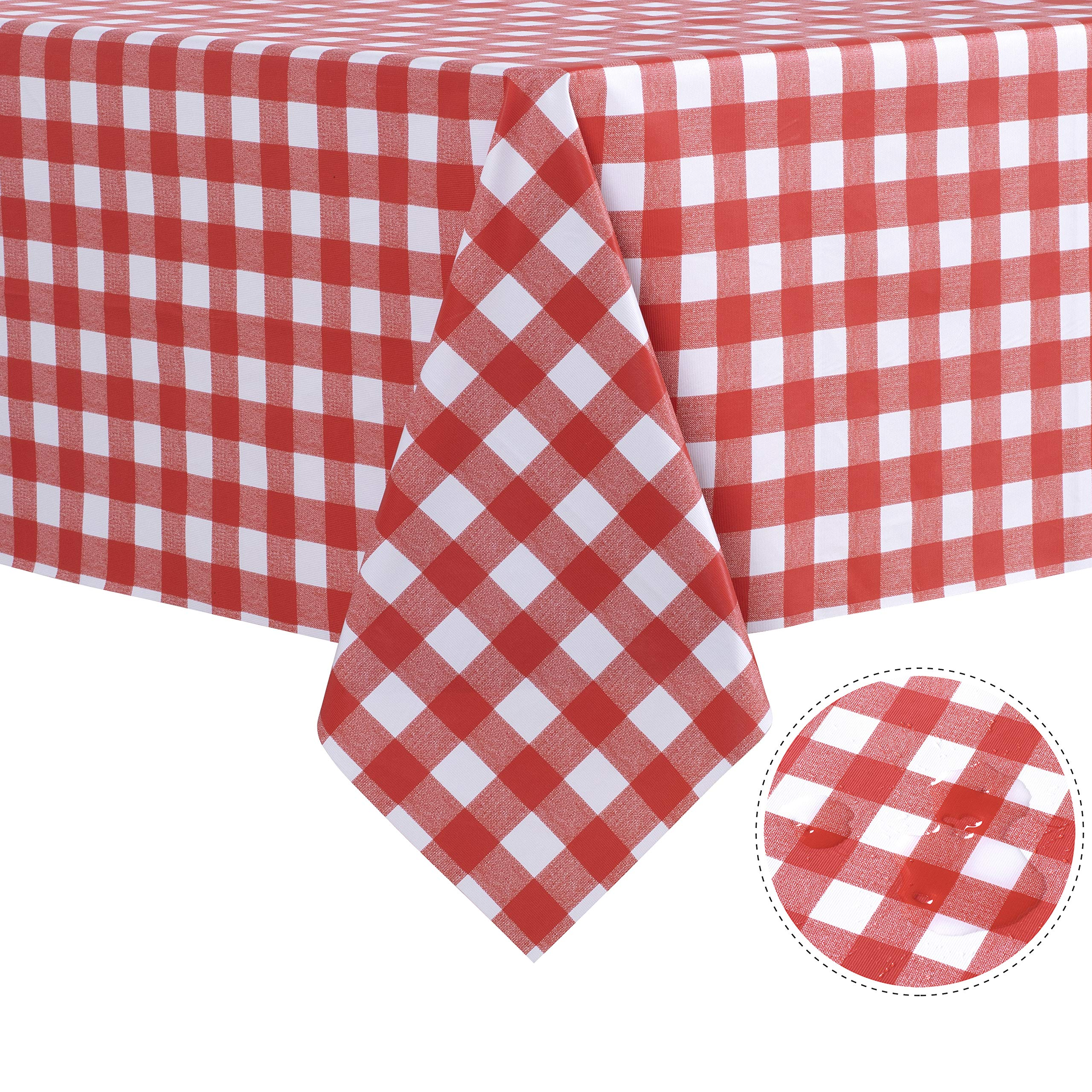 sancua Checkered Vinyl Rectangle Tablecloth - 54 x 108 Inch - 100% Waterproof Oil Proof Spill Proof PVC Table Cloth, Wipe Clean Table Cover for Dining Table, Buffet Parties and Camping, Red and White