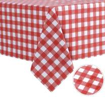sancua Checkered Vinyl Rectangle Tablecloth - 54 x 54 Inch - 100% Waterproof Oil Proof Spill Proof PVC Table Cloth, Wipe Clean Table Cover for Dining Table, Buffet Parties and Camping, Red and White