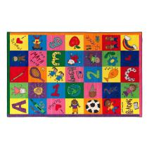 Flagship Carpets CE194-28W Primary Pictures, Children's Classroom Educational Rug, 5'x8', Rectangle