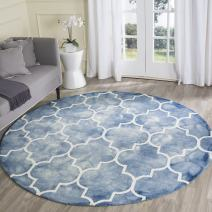 Safavieh Dip Dye Collection DDY535K Handmade Moroccan Watercolor Blue and Ivory Wool Round Area Rug (7' Diameter)
