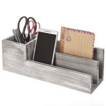 Rustic Whitewashed Gray Wood Desktop Pen Caddy & 2 Slot Letter Sorter Office Organizer