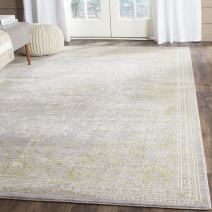Safavieh Passion Collection PAS402D Oriental Vintage Watercolor Grey and Green Distressed Area Rug (9' x 12')