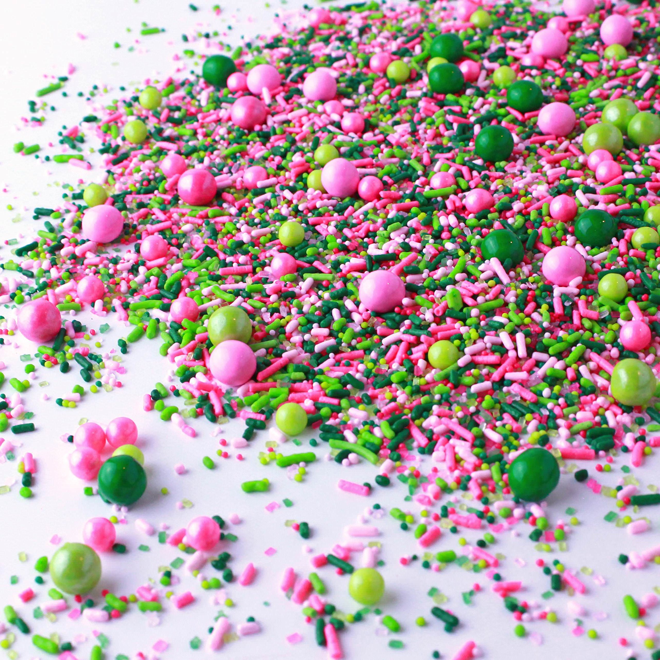 Killarney Rose Sprinkle Mix | White | Pink| Green and Lime | For Ladies | Sorority | Gluten Friendly Sprinkles, 2OZ (sample size)