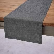 Solino Home FestiveSilver LurexTable Runner – Festive Black Linen Table Runner - 14 x 72 Inch
