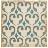 """SomerTile, Green/Blue/Cream/White/Brown FPEARCKZ Modele Ceramic Floor and Wall Tile, 4.875"""" x 4.875"""", Khazana"""