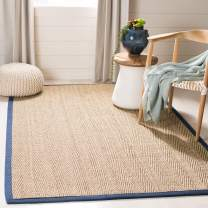 Safavieh Natural Fiber Collection NF115E Herringbone Natural and Blue Seagrass Area Rug (6' x 9')