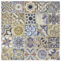 """SomerTile, Cream/Blue/Purple/Green/Red/White/Beige/Brown/Black/Yellow FPM12ARD Leon Ceramic Floor and Wall Tile, 12.5"""" x 12.5"""", Arenal Décor"""