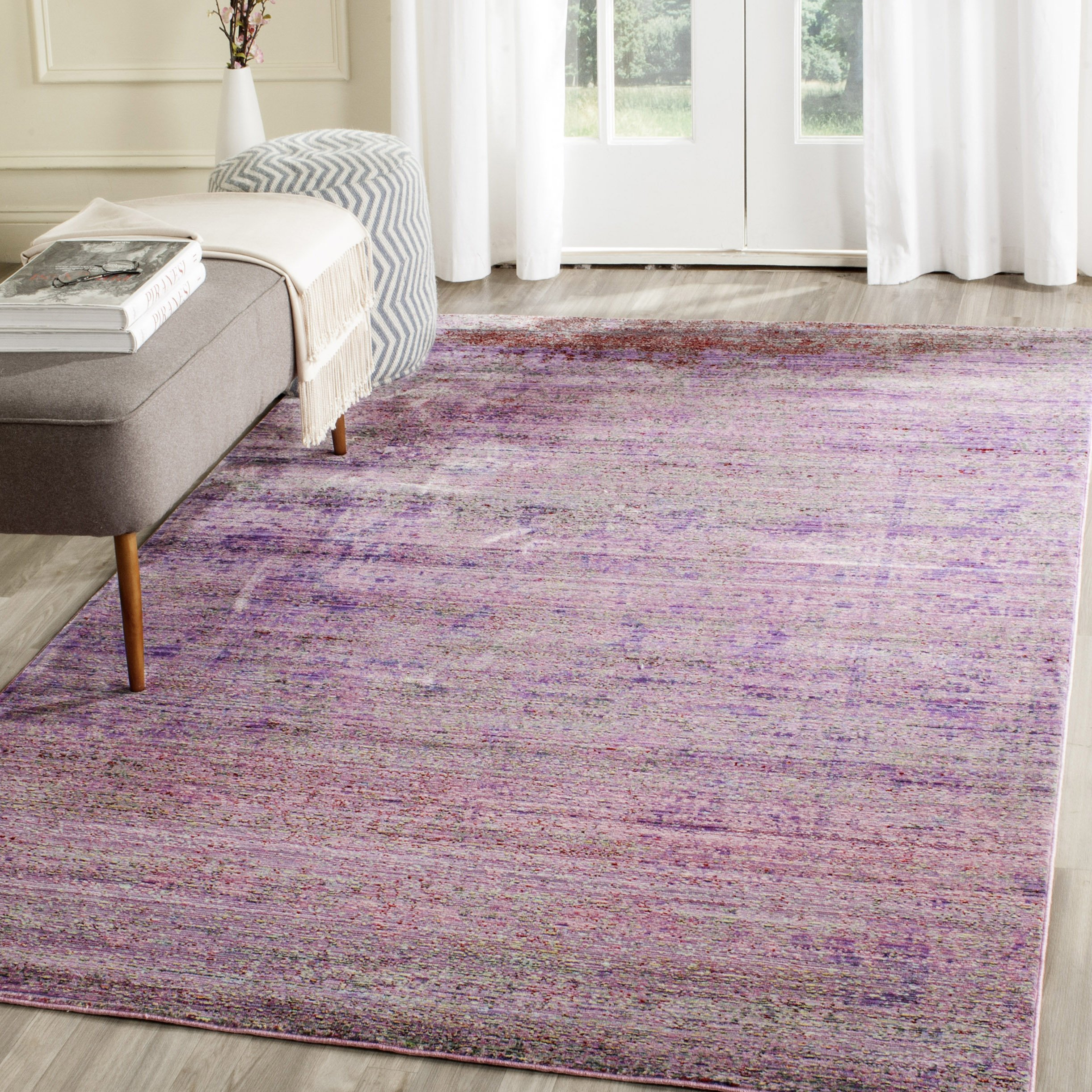 Safavieh Valencia Collection VAL203N Lavender and Multi Distressed Watercolor Silky Polyester Area Rug (10' x 14')