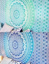 Set of 2 Boho Tapestry or Mandala Tapestry Wall Hanging Indian Hippie Tapestry Bohemian Blanket or Table Cover or Tablecloth Beach Towel Meditation Yoga Mat - Twin Size - 55x85, Blue and Green