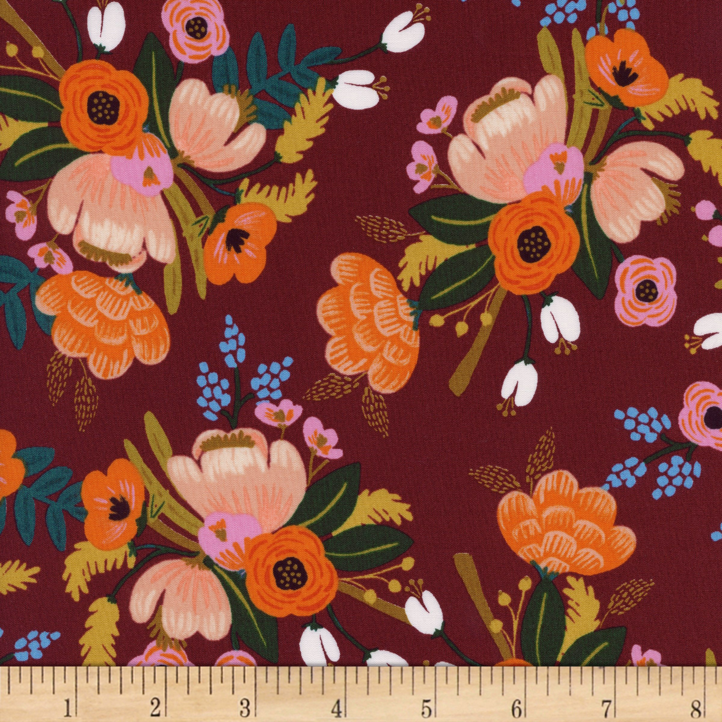 Cotton + Steel Burgundy Rifle Paper Co Rayon Challis Amalfi Lively Floral Fabric by The Yard