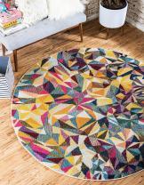 Unique Loom Estrella Colorful Area Rug, 6' 0 x 6' 0 Round, Multi/Beige